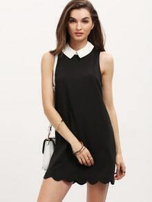 Black Contrast Lapel Sleeveless Scallop Dress