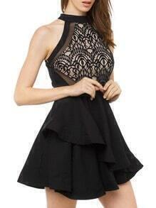 Black Lace Embroidered Layer Dress
