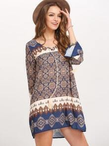 Tribal Print Drawstring Neck Shift Dress