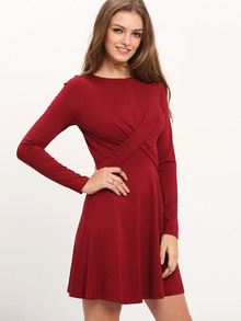 Burgundy Wrap Front A Line Dress