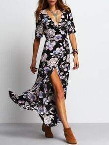 Black Deep V Neck Floral Split Dress