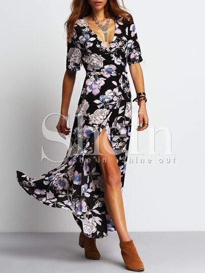 Black Deep V Neck Floral Split Dress