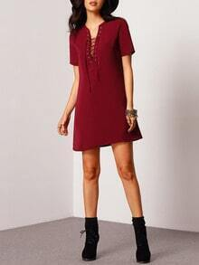 Red Lace Up Neck Shift Dress