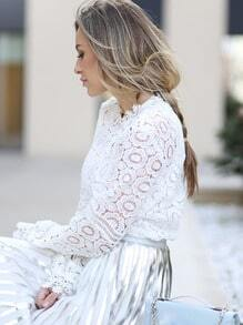 White Lace Mock Neck Blouse