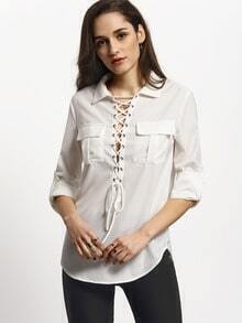 White Lace Up Neck Pockets Blouse