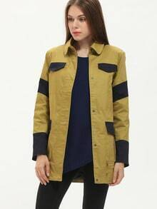 Yellow Color Block Pockets Car Coat