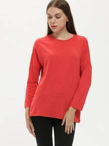 Red Crew Neck Loose T-Shirt