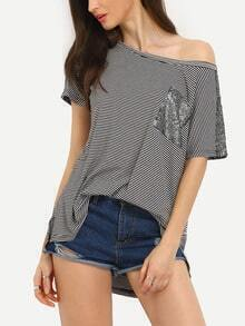 Black Striped Sequined Pockets T-Shirt
