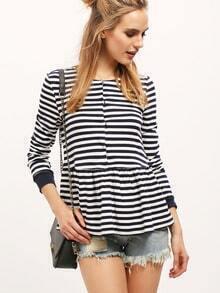Navy Striped Flounce T-Shirt