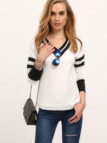 Beige Color Block Trims Sweatshirt
