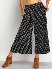 Black Tribal Print Straight Pant