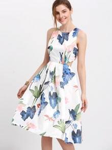 Beige Sleeveless Floral Pouf Dress