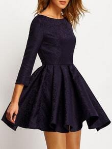 Navy Cut Out Back Pleated Dress