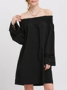 Black Off The Shoulder Lace Cuff Dress