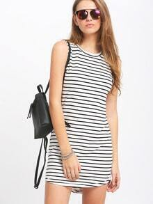White Sleeveless Striped Dress