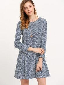 Blue Crew Neck Folk Print Dress