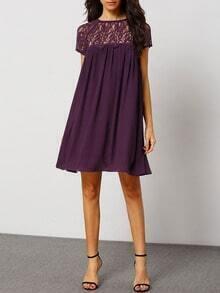 purple crew neck with lace shift dress sheinsheinside