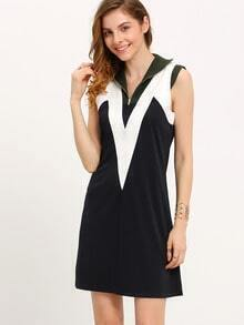 Navy Color Block Shift Dress