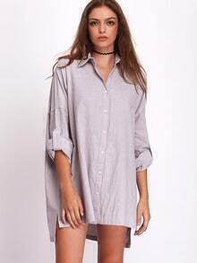 Grey Pockets Side Slit Shirt Dress