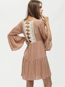 Brown Contrast Lace Back Keyhole Dress