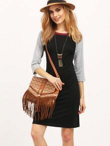 Black Contrast Raglan Sleeve Dress