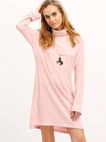 Pink High Neck Shift Dress