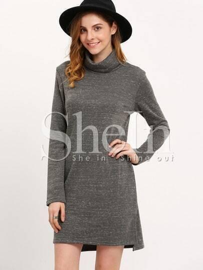 Grey High Neck Shift Dress