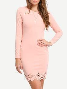 Pink Crew Neck Scallop Bodycon Dress