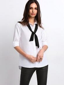 White Lapel Button Blouse