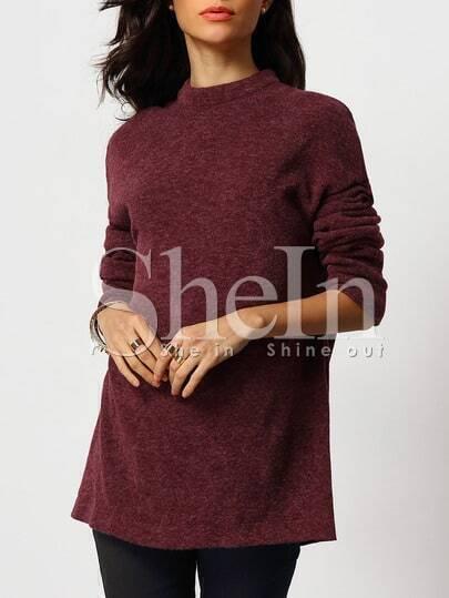 Jersey cuello mock suelto -rojo