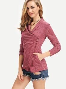Burgundy Cowl Neck Zipper T-Shirt