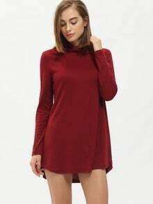 Burgundy Mock Neck Loose T-Shirt