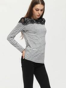 White Striped Contrast Lace T-Shirt