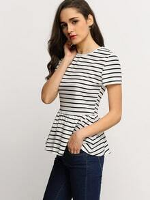 White Striped Flounce T-Shirt