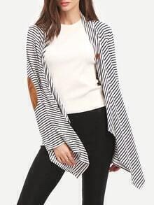 White Striped Elbow Patch Asymmetric T-Shirt