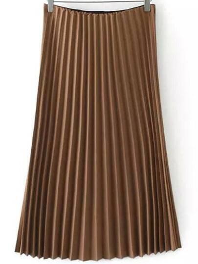 elastic waist pleated khaki skirt shein sheinside