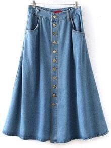 Single Breasted Denim A-Line Blue Skirt