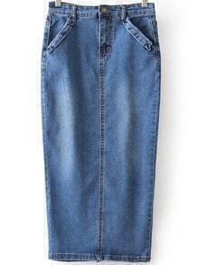 High Waist Denim Split Skinny Skirt