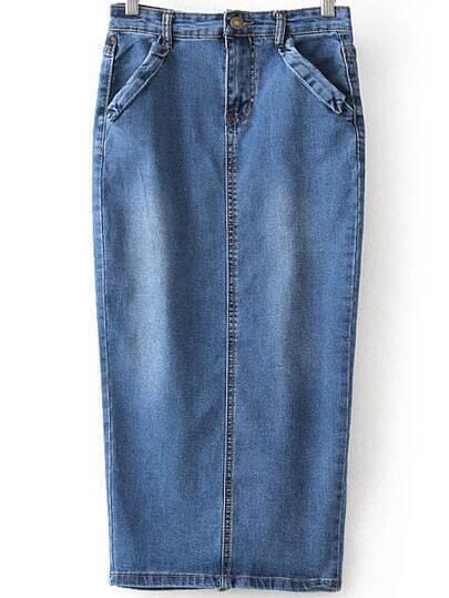 high waist denim split skirt shein sheinside