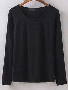 Long Sleeve Slim Black T-shirt