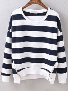 Dropped Shoulder Seam Striped Zipper Navy Sweatshirt
