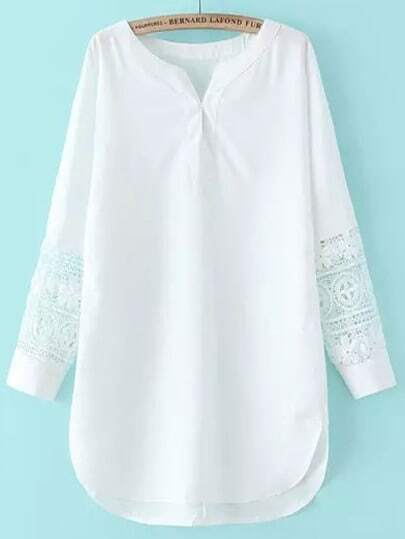 V Neck Crochet Chiffon White Dress