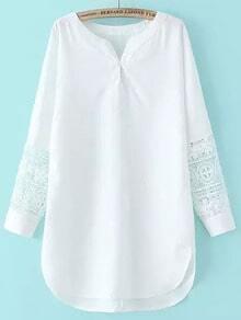 V Neck Crochet Chiffon White Dress