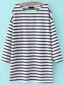 Dropped Shoulder Seam Striped Tshirt Dress