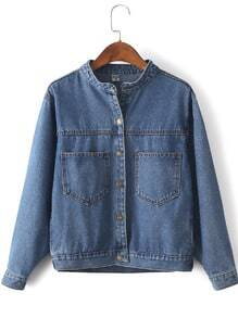 Stand Collar Denim Jacket With Pockets