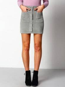 Grey Pockets Corduroy Skirt