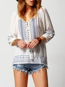 White Blue Lace Up Embroidered Blouse