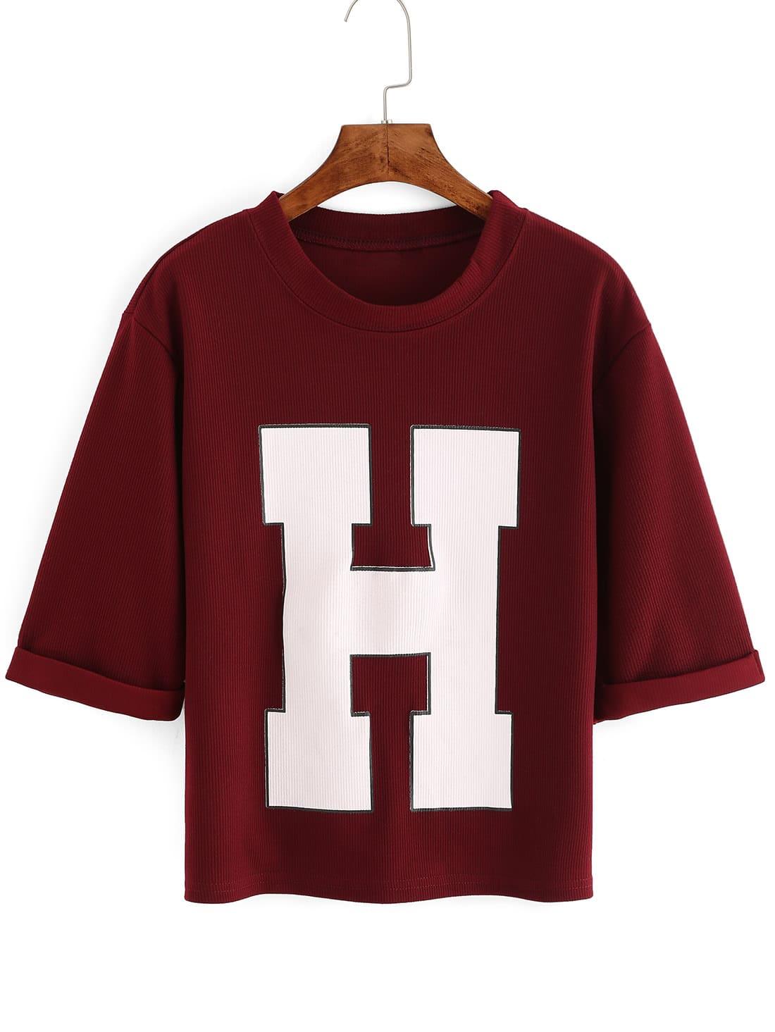 Фото Red Short Sleeve H Print Crop T-Shirt. Купить с доставкой