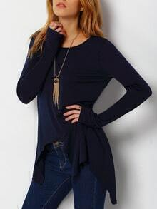 Navy Round Neck Asymmetrical Loose T-Shirt