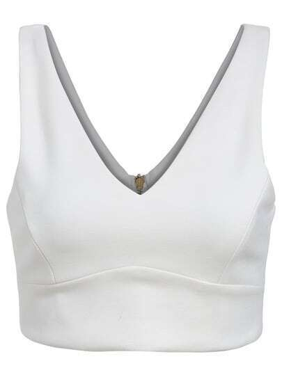 White V Neck Zipper Crop Tank Top